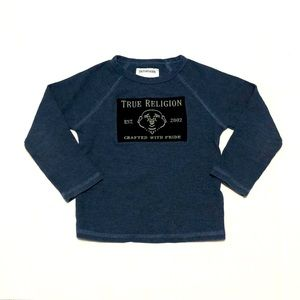 TRUE RELIGION Waffle Knit Long Sleeve Crewneck Top